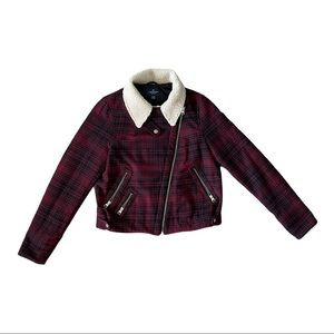 American Eagle outfitters redplaid faux fur jacket